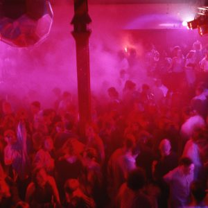 The Haçienda Manchester - main dancefloor bathed in pink light
